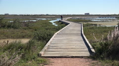 Texas Mustang Island board walk to tidal flats Stock Footage