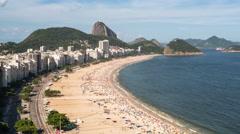 Copacabana beach and Sugarloaf, Rio de Janeiro, Brazil, South America 4K Stock Footage