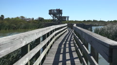 Texas Port Aransas boardwalk and tower - stock footage
