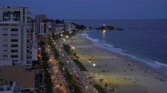 Ipanema Beach, evening, Rio de Janeiro, Brazil, South America - stock footage