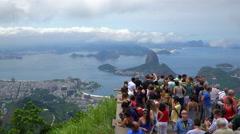 Sugar loaf mountain (Pao Acucar) and bay of Botafogo, Rio de Janeiro, Brazil 4K Stock Footage