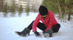 Young Thai Woman playing with snow 4k UHD (3840x2160) Stock Footage