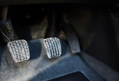 Brake and accelerator pedal of car Stock Photos