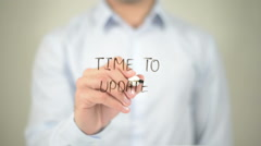 Time To Update , man writing on transparent screen - stock footage