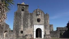 Texas Goliad Presidio La Bahia church door and bell tower Stock Footage