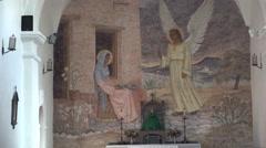 Texas Goliad Presidio La Bahia church interior zoom out Stock Footage