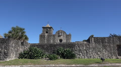 Texas Goliad Presidio La Bahia wall and church zoom in Stock Footage