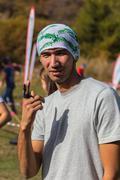 ALMATY,ALMATY DISTRICT, KAZAKHSTAN-OCTOBER 10, 2015: Men in nature are prepared Stock Photos