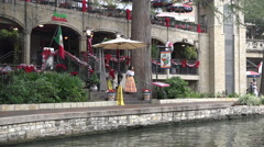 Texas San Antonio River Walk with restaurant Stock Footage