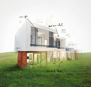 Home project on lawn 3d rendering Stock Illustration