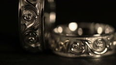 Jewel. White Gold Rings Rotates On A Black Background. Close-Up - stock footage