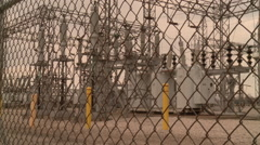 High Voltage Electric Power Transfer Station - stock footage