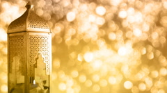 Arabic ornamental lantern with burning candle. Ramadan footage. - stock footage