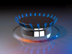 gas blue flame kitchen cook fire butane 3d rendering - stock illustration