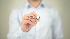 Source, man writing on transparent screen Stock Footage