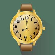 Classic wristwatch in a gold frame Stock Illustration