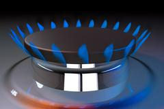 Gas blue flame kitchen cook fire butane 3d rendering Stock Illustration