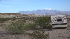 Texas Terlingua abandoned trailer Stock Footage