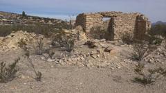 Texas Terlingua creosote bush and ruin pan Stock Footage