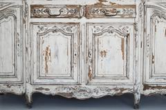 Close-up of keyhole ancient white commode bureau furniture with paint peeled off - stock photo