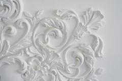 Luxury white wall design bas-relief with stucco mouldings roccoco element Stock Photos