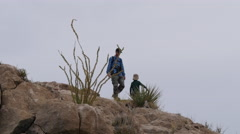 Texas Big Bend boy and father exploring Stock Footage