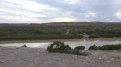 Texas Big Bend bush on cliff above Rio Grande Stock Footage