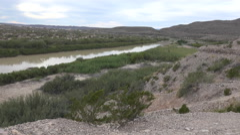 Texas Big Bend vegetation along Rio Grande Stock Footage