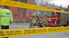 Police Line Tape Do Not Cross Firetruck Crime Scene Stock Footage