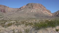 Texas Big Bend desert mesa scene pan left Stock Footage
