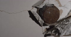 Smash through Drywall with hammer in slow motion - stock footage