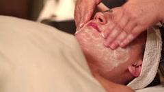 Facial Treatment Rub in Cream Move Right Stock Footage