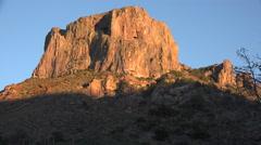 Texas Big Bend Chisos mesa in evening light Stock Footage