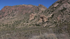 Texas Big Bend Chisos Mountain rocks zoom in Stock Footage