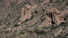 Texas Big Bend Chisos Mountain rocks zoom out Stock Footage