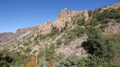 Texas Big Bend Chisos rocks and cedar pan Stock Footage