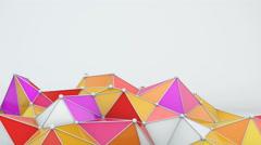 Bright low poly shape 3D render loop 4k UHD (3840x2160) Stock Footage