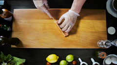 Chef Cuts Salmon Fish Fillets - stock footage