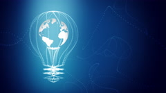Bulb with the world inside concept design, blue abstract background. Stock Footage