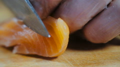 Chef Cuts Salmon Fish Fillets Close Up Stock Footage