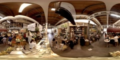 Shuk HaNamal, the marketplace at the Tel Aviv Port boardwalk 360 video Stock Footage