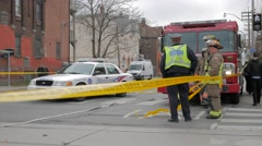 Police Line Tape Do Not Cross Officers Firemen Setup  Stock Footage