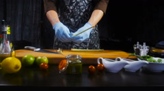 Chef Prepares Onions for the Shrimp Stock Footage
