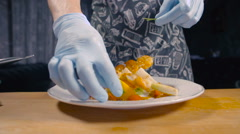 Chef Decorates A Dish Of Greens The Shrimp - stock footage