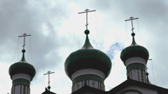 Dark green domes with crosses of Orthodox Church Stock Footage