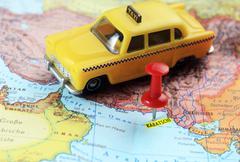 Karachi Pakistan map pin taxi Stock Photos