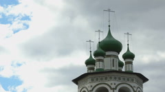 Orthodox monastery on the background of blue sky Stock Footage