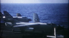 3263 jet wings deploy, take off from aircraft carrier - vintage film home movie Stock Footage