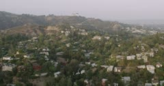 WS AERIAL View of Griffith observatory, city in the background Stock Footage