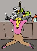 tired woman doing dishes - stock illustration
